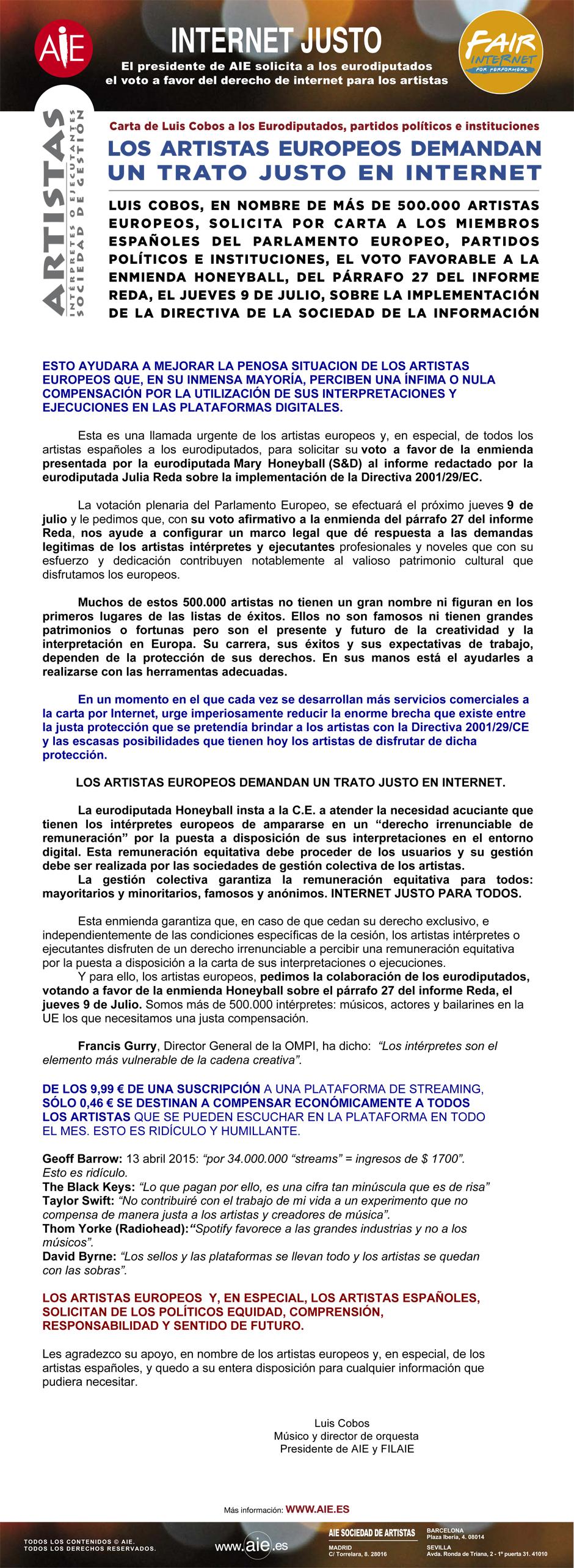 AIE FAIR INTERNET Los artistas europeos demandan un trato justo en Internet
